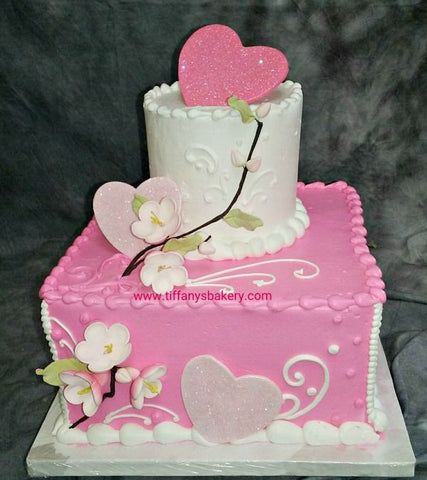 Blossom and Hearts Celebration Tier Cake