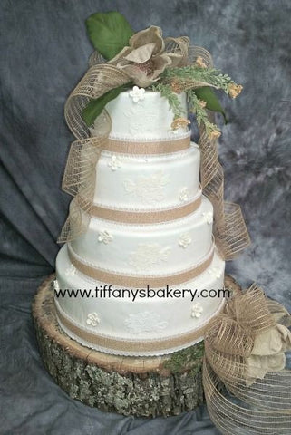 Burlap and Lace Premier Wedding Cake