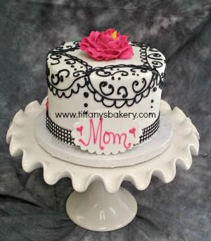 Mother's Day Black Scroll Cake