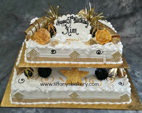 Gold Bling on 1/4 and 1/2 sheet cake