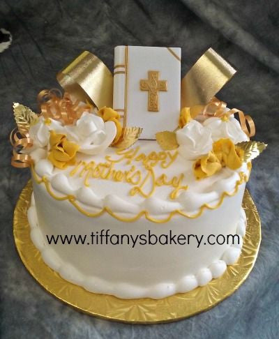 Magnificent Round Cake With Bible Tiffanys Bakery Personalised Birthday Cards Paralily Jamesorg