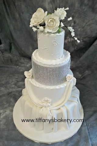 Pleats and Swags Fondant Wedding Cake
