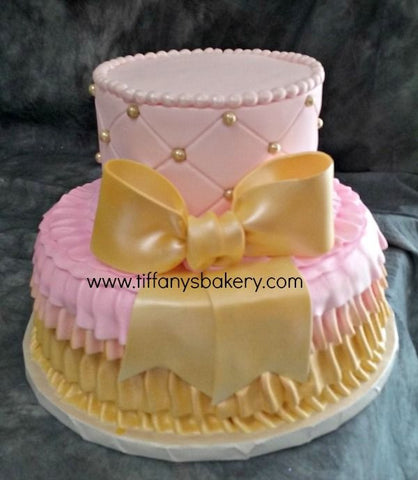 Ruffles and Diamond Pattern Celebration Tier Cake
