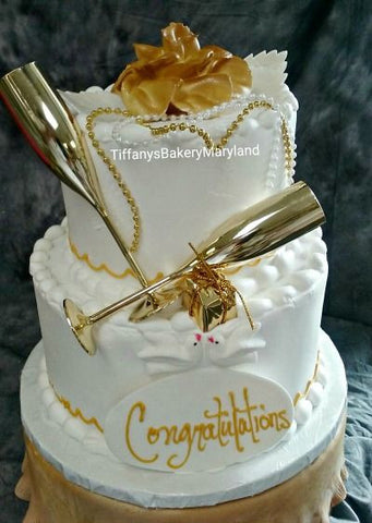 Gold Flute Celebration Tier Cake