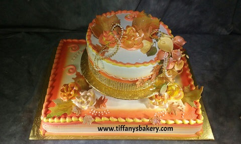 "Half Sheet Cake with 8"" Round Separated, Fall Colors"