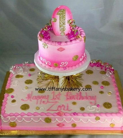 "Half Sheet Cake with 6"" Round - Birthday"
