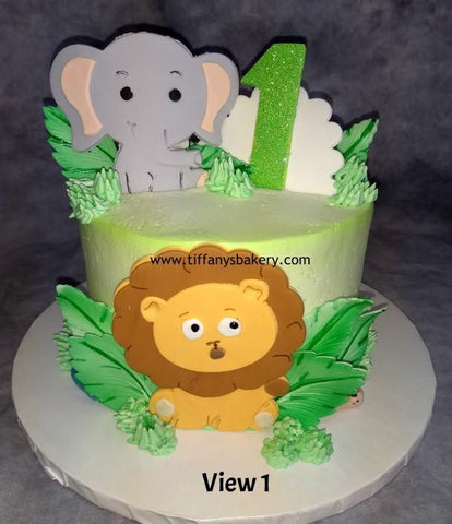 Animals on Round Cake