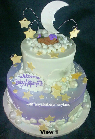 Moon and Stars Baby Celebration Tier Cake