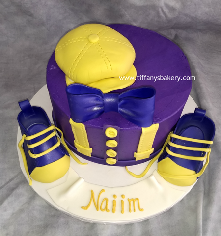 Bebop Cap and Baby Tennis Shoes on Round Cake