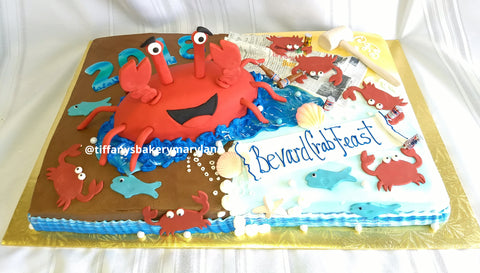 Happy Crab Sheet Cake