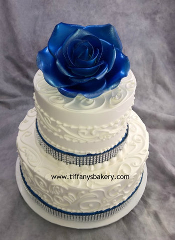 Daisy Design with Big Rose  Celebration Tier Cake