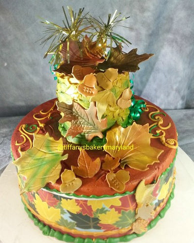 Fall Leaves Celebration Tier Cake