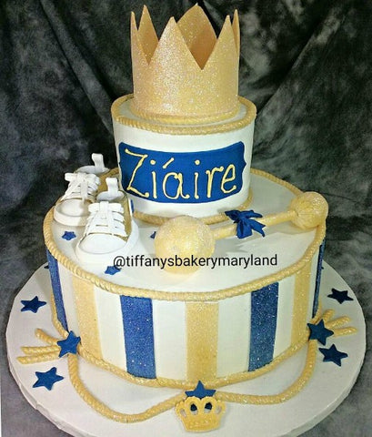 Royal Crown and Tennis Shoe Baby Shower Celebration Tier Cake