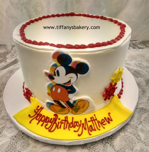 Stupendous Round 3 Layer Cake Mickey Mouse Tiffanys Bakery Funny Birthday Cards Online Overcheapnameinfo