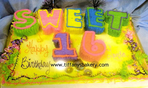 Full Sheet with 3D Cutout Letters - SWEET 16 Design