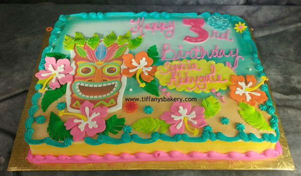 Hibiscus Flower And Totem Pole Sheet Cake