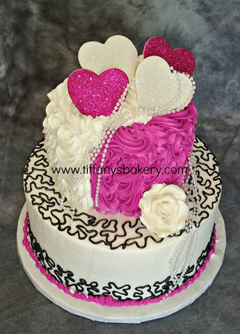 Fuchsia and Black Lace Celebration Tier Cake