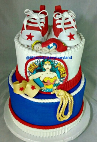Wonder Woman Baby Shower Celebration Tier Cake
