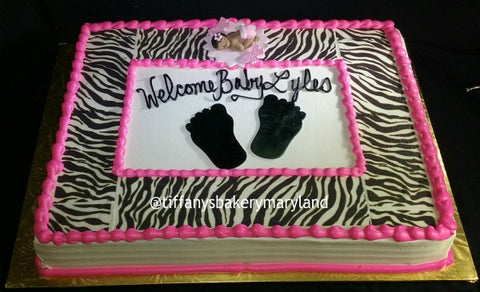 Zebra Pattern with Baby Sheet Cake