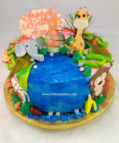 Wildlife Jungle Jam Round Cake