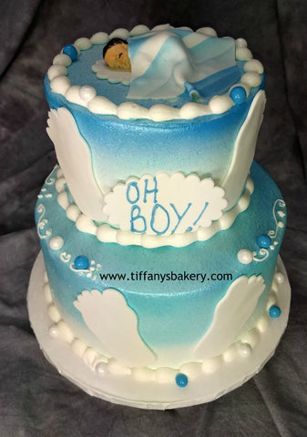 "Baby Feet 6"" and 8"" Round Celebration Tier Cake"