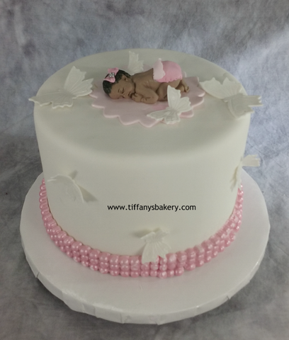 "Fondant Covered 6"" Round Cake with Baby Topper"