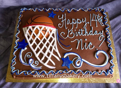 Basketball and Net on Sheet Cake
