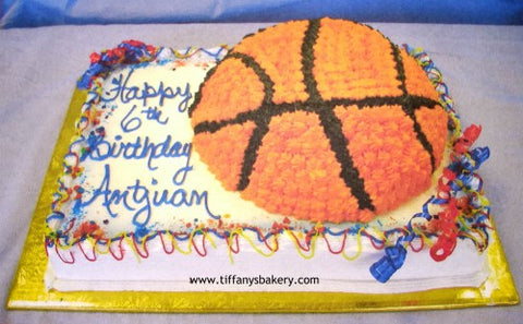 Basketball on Sheet Cake