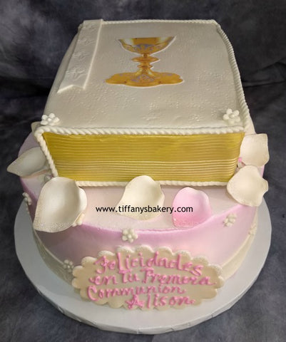 Round Cake with Stacked Bible for First Communion
