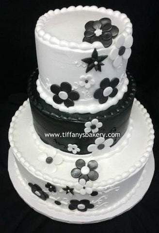 Black and White Mod Flower Celebration Tier Cake