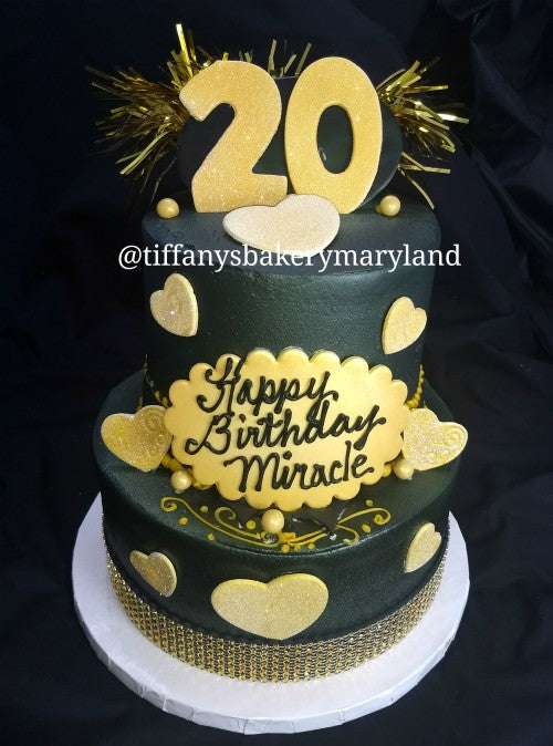 Black With Gold Bling Celebration Tier Tiffanys Bakery