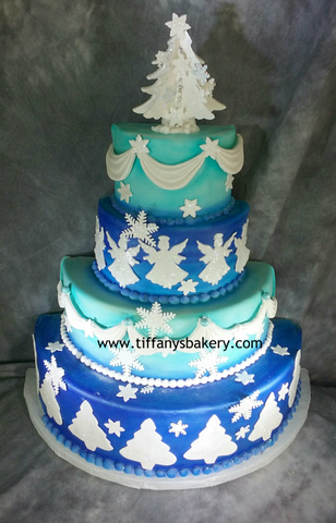Blue Christmas Fondant Celebration Tier Cake