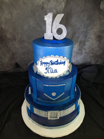 Blue Jean Denim and Diamond Celebration Tier Cake