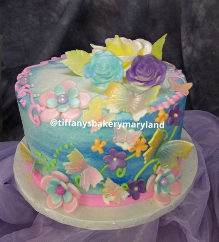 Butterflies and Flowers on Round Cake
