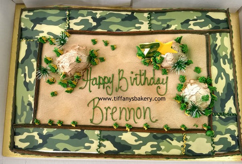 Camouflage Border Sheet Cake