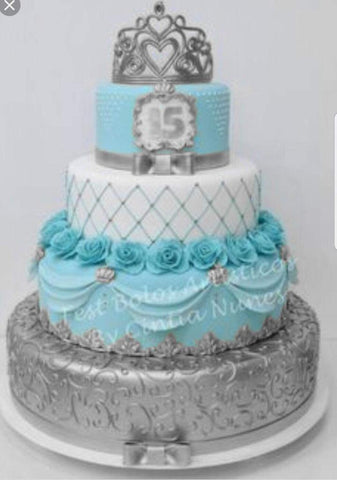 Aqua and Silver 4 Tier Cake - Quinceanera