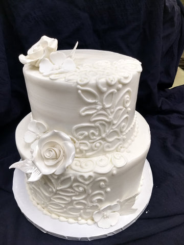 "Celebration Tier Cake - Stylized Piping on 6"" and 10"" Round Cake"