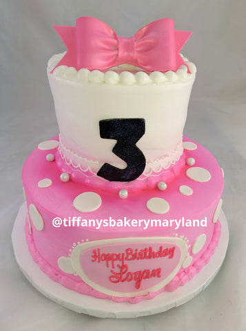 Dots and Bow Celebration Tier Cake