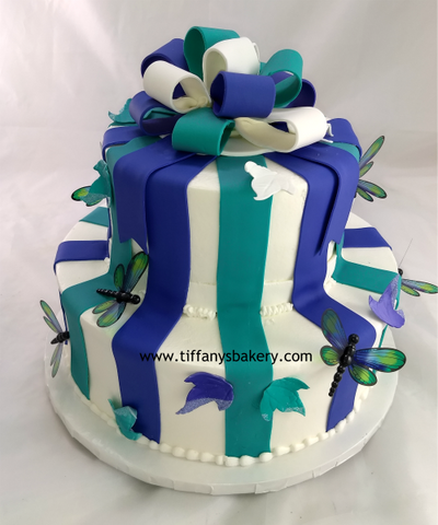 Multicolor Bow with Stripes Celebration Tier Cake