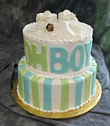 Baby Shower Celebration Tier Cake - Oh Boy