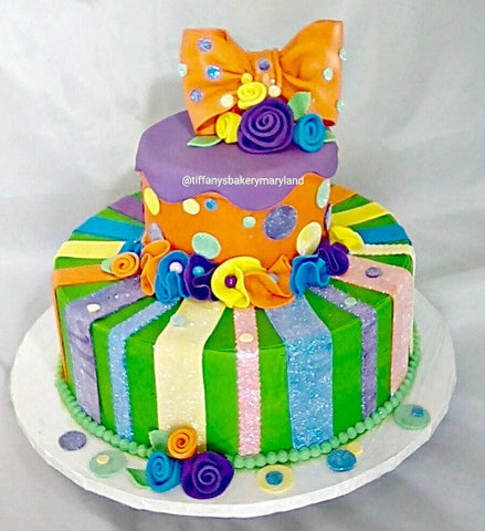 Bright Stripes Celebration Tier Cake