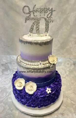 "Rosette Three Tier Celebration Tier Cake - 6"", 8"" and 10"" Tiers"