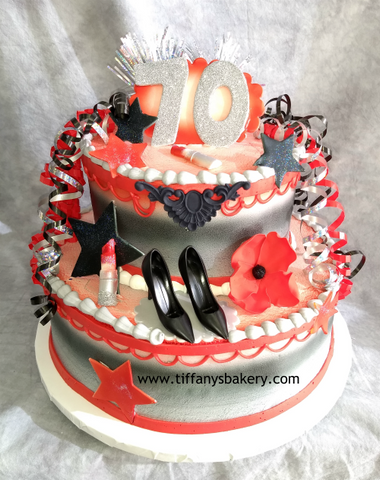 Celebration Tier Cake - 70th Birthday