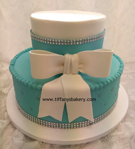 Diamond Quilted Pattern with Bow and Bling Celebration Tier Cake