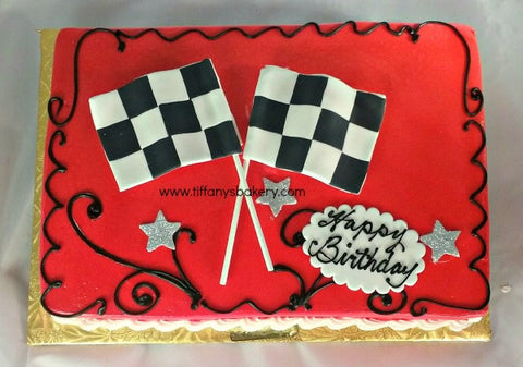 Auto Racing Checkered Flag Sheet Cake