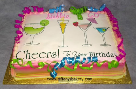 Cheers to Your Birthday Edible Image Layon