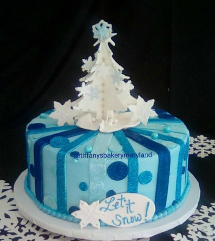 White Christmas Tree on Striped Round Cake