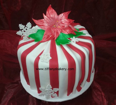 Poinsettia on Round Cake