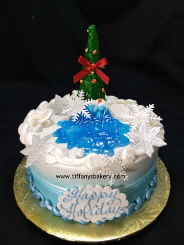 Christmas Tree on Round Cake