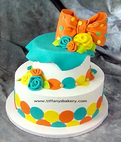 Tricolor Circles Celebration Tier Cake